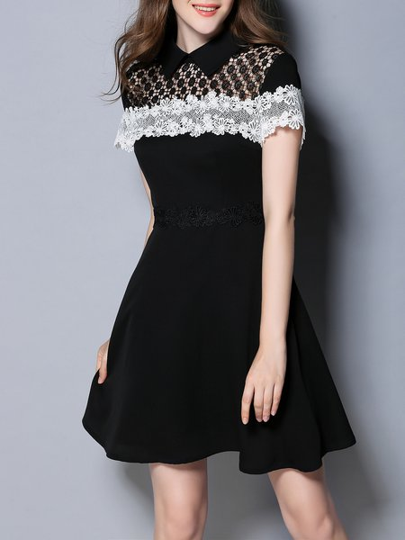 Black Elegant Pierced A-line Appliqued Mini Dress