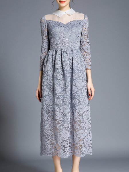 Gray Crocheted 3/4 Sleeve Paneled Lace Midi Dress