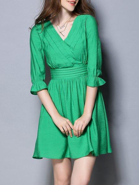 Green Elegant Plain Paneled Mini Dress