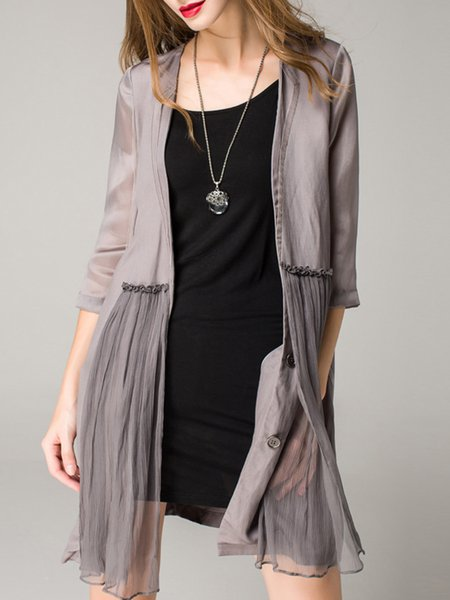Gray Casual Plain Silk Paneled Coat