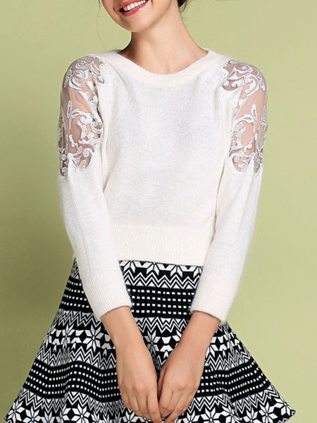 Casual Graphic Embroidered Long Sleeve Sweater