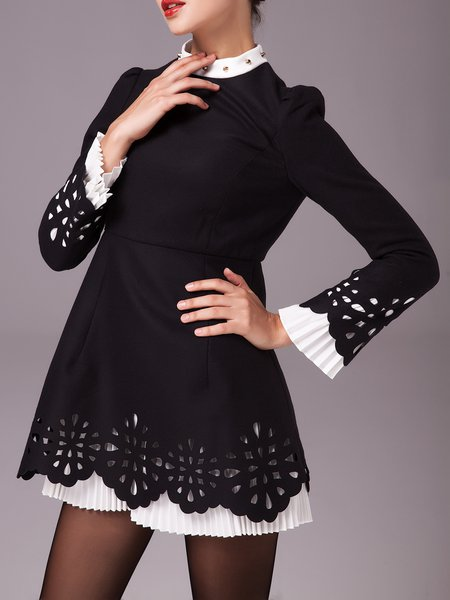 Black Pierced Frill Sleeve Turtleneck Rivet Mini Dress