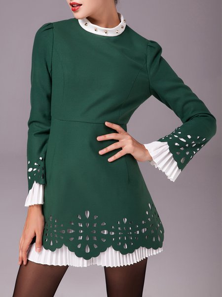 Frill Sleeve Rivet A-line Elegant Mini Dress