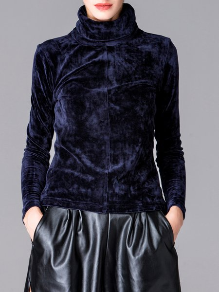 Dark Blue Plain Velvet Turtleneck Long Sleeve Top