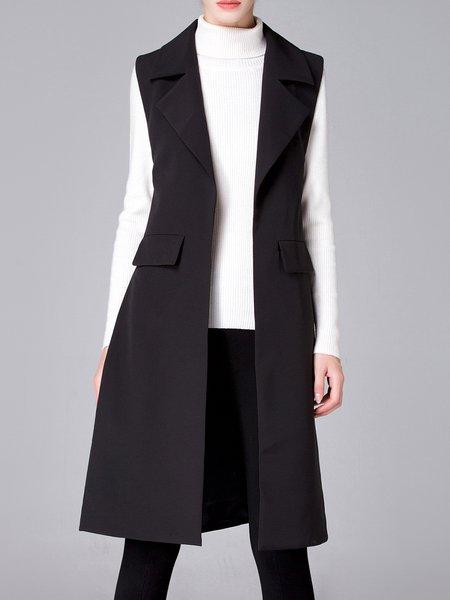 Black Plain Grommet Slit Lapel Formal Vests And Gilet