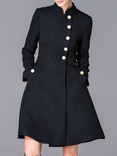 Black Stand Collar Ribbed Elegant Coat