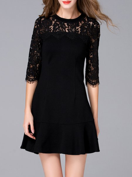 A-line Simple 3/4 Sleeve Lace Paneled Mini Dress