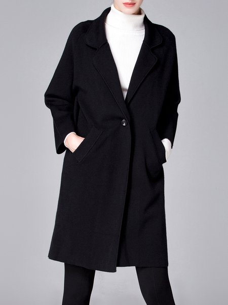 Black Wool Blend Embroidered Lapel Elegant Coat