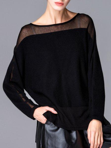 Black Wool Blend Slash Neck Casual Sweater