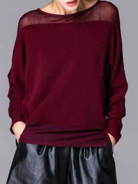 Wine Red Long Sleeve Asymmetrical Wool Blend Plain Sweater