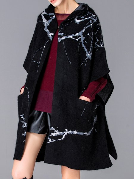 Black Casual Graphic Wool Blend Hoodie Poncho And Cape