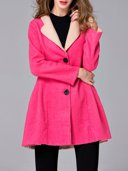 Elegant Buttoned Lapel Long Sleeve Wool Coat