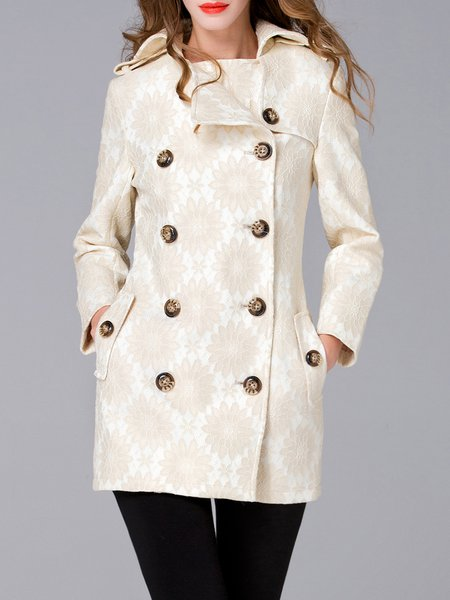 White Floral Paneled Lapel Silk Long Sleeve Coat