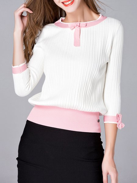 White Long Sleeve Bow Plain Knitted Sweater
