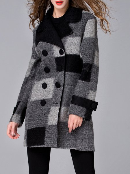 Multicolor Checkered/Plaid Lapel Wool Long Sleeve Coat