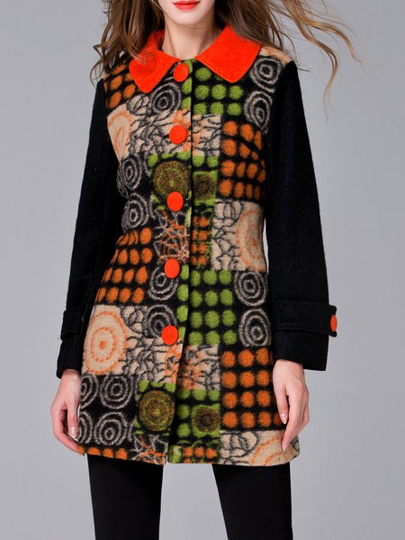 Multicolor Lapel Long Sleeve A-line Printed Coat
