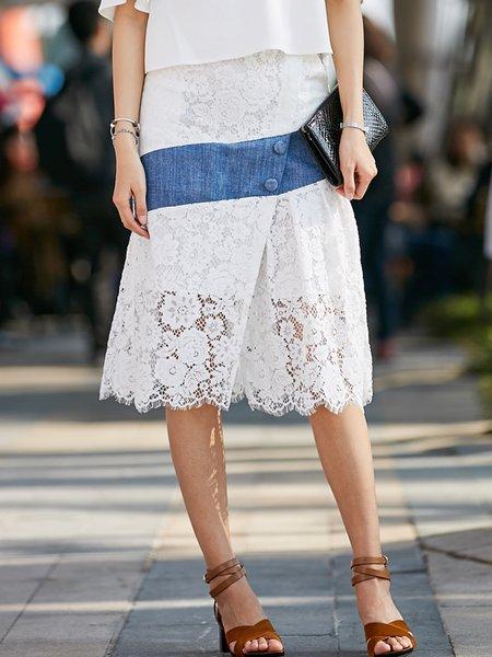 White Elegant Cotton-blend Lace Flounce Midi Skirt