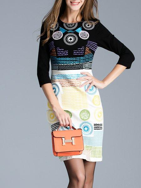Elegant Sheath 3/4 Sleeve Geometric Embroidered Midi Dress