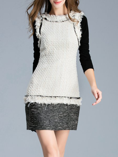 Black Color-block Basic Silk Crew Neck Mini Dress