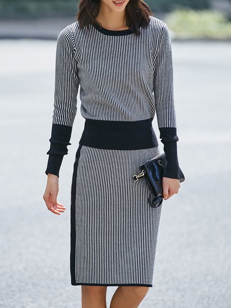 Casual Stripes Two Piece Long Sleeve Knitted Midi Dress