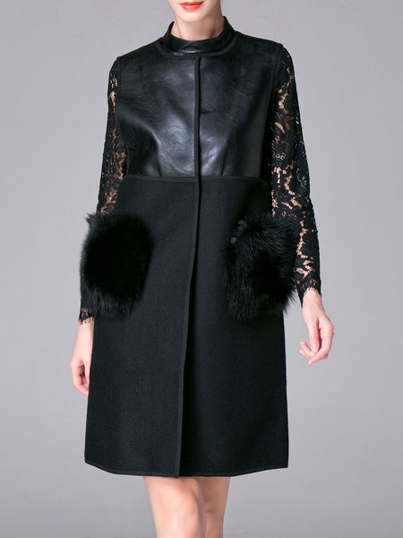 Black Cotton-blend Elegant Faux Fur Paneled Vests And Gilet