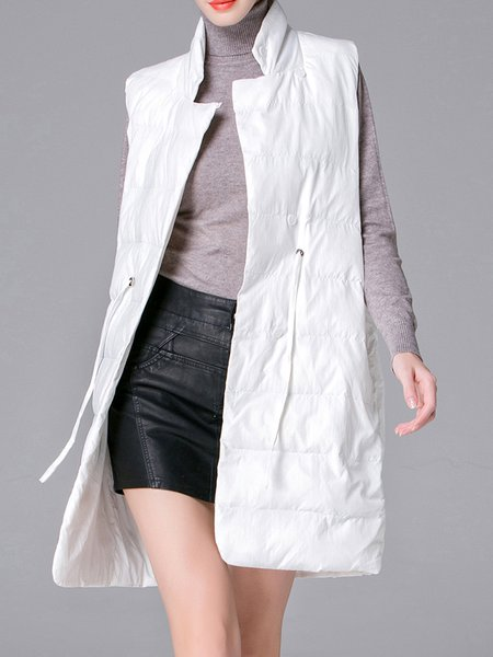 White Simple Sleeveless Drawcord Vests And Gilet