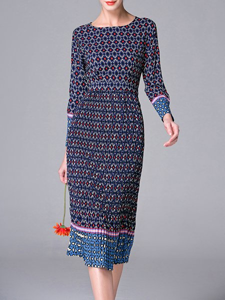 Cotton-blend Long Sleeve Vintage Geometric Pleated Midi Dress