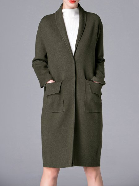 Simple Long Sleeve Pockets Knitted Coat