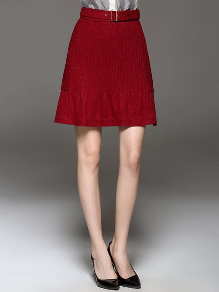 Red Pleated Solid Elegant A-line Mini Skirt - StyleWe.com