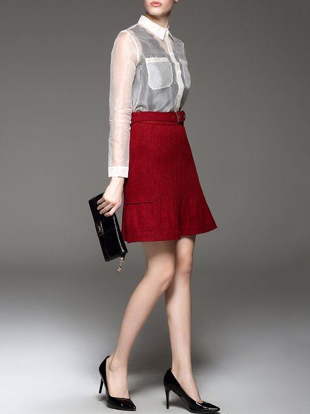 Red Pleated Solid Elegant A-line Mini Skirt - StyleWe.com