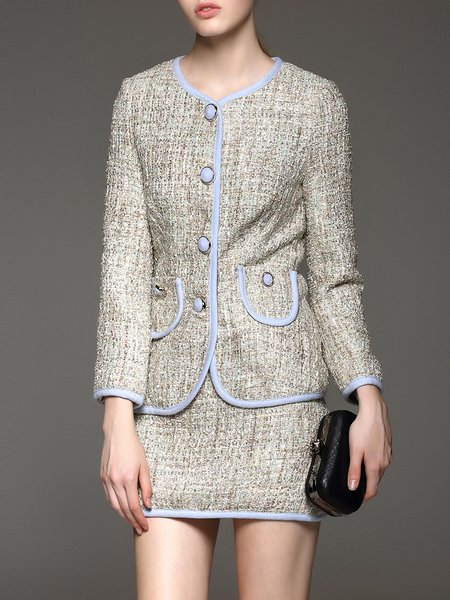 Two Piece Woven Elegant Long Sleeve Cotton Blend Mini Dress