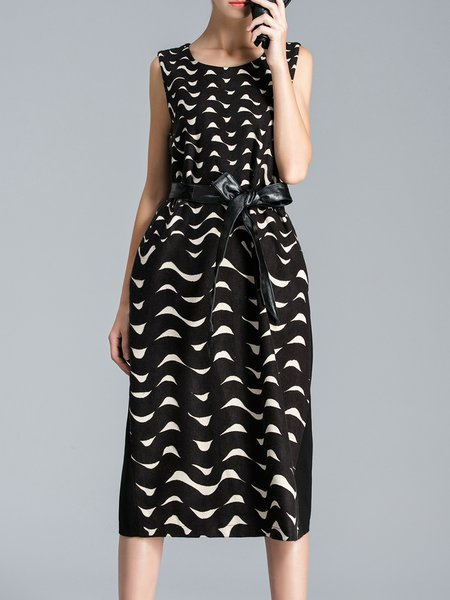 Black Printed Polyester Elegant A-line Midi Dress With Belt
