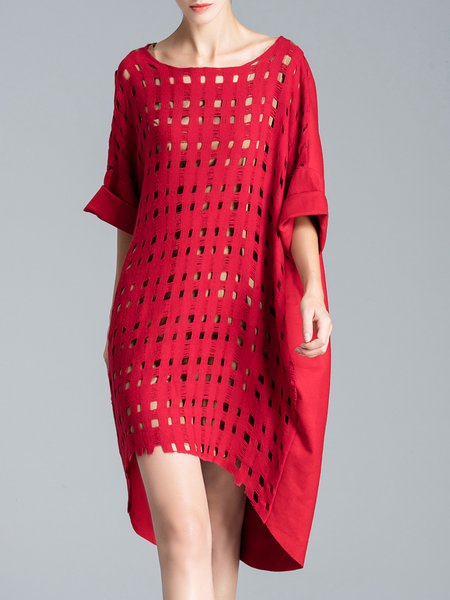 Red Sexy High Low Boat Neck Plain Midi Dress