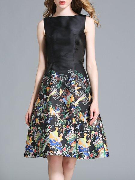 Black Elegant A-line Printed Midi Dress