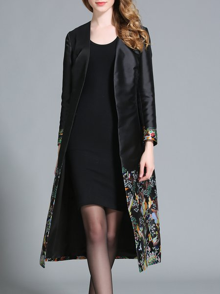 Black H-line Printed Long Sleeve Coat