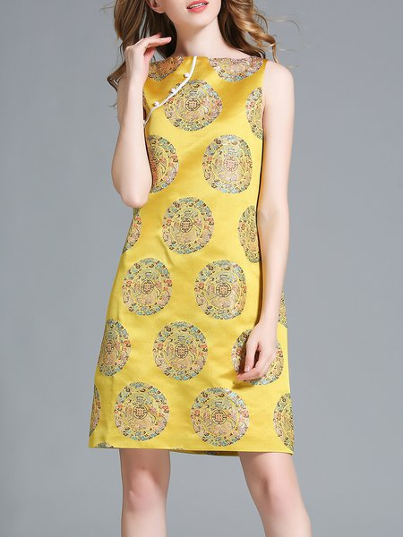 Yellow H-line Sleeveless Printed Midi Dress