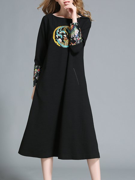 Black Simple H-line Polyester Appliqued Midi Dress