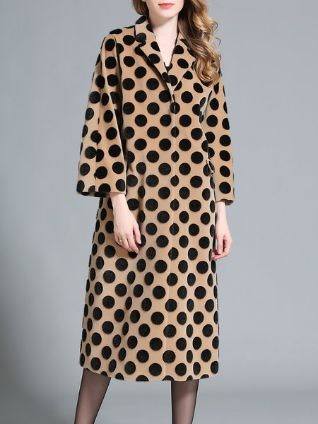 Brown Polka Dots H-line Lapel Simple Coat