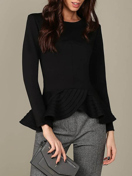 Black Asymmetrical Viscose Ruffled Long Sleeved Tops