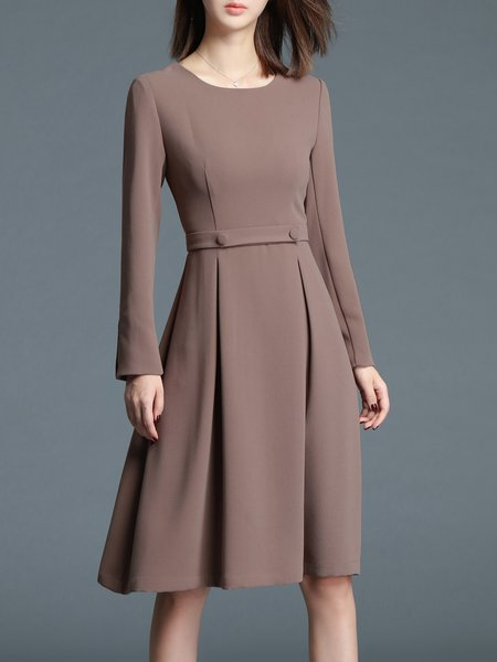 Khaki Plain Elegant Folds A-line Midi Dress