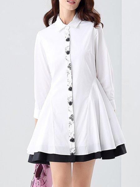 White 3/4 Sleeve A-line Mini Dress