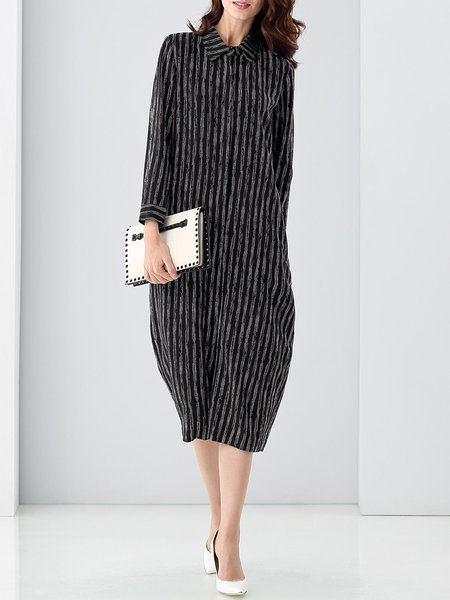Black Printed Casual H-line Stripes Midi Dress