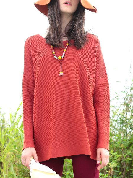 Orange Acrylic Knitted Long Sleeve Plain Sweater
