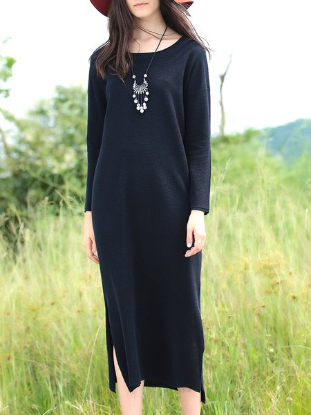 Dark Blue Long Sleeve Lyocell Boat Neck Slit Maxi Dress
