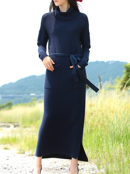 Long Sleeve Turtleneck Plain Casual Sweater Dress With Belt
