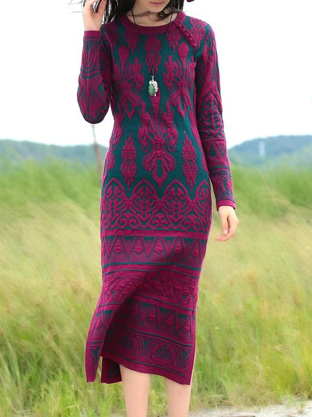 Tribal Long Sleeve Vintage Knitted Shift Sweater Dress