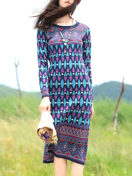 Multicolor Vintage Knitted Sheath Geometric Sweater Dress
