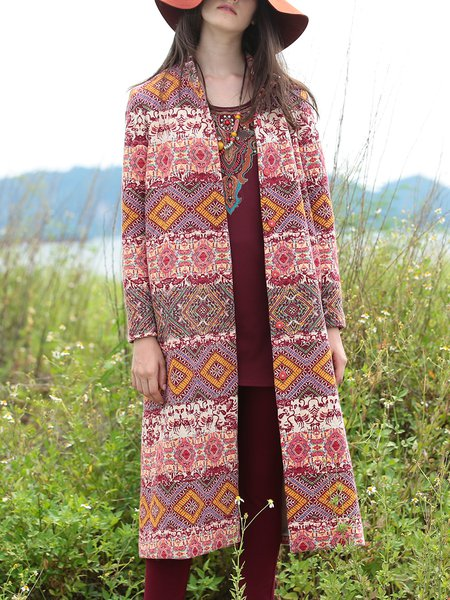 Jacquard Long Sleeve Vintage Cotton Coat