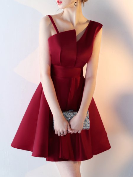 Solid Asymmetric Backless A-line Statement Dress