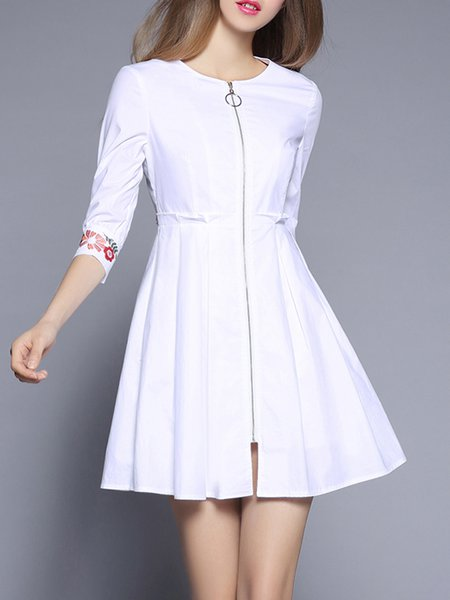Floral-embroidered Zipper Crew Neck 3/4 Sleeve A-line Mini Dress